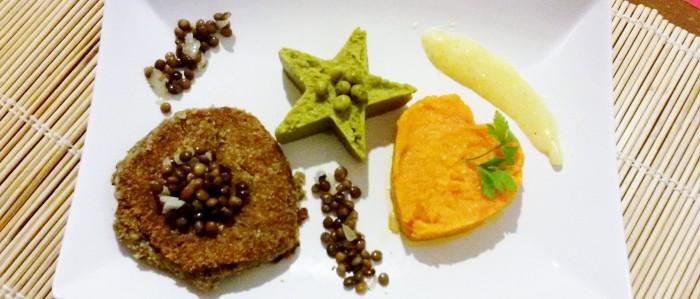 Lentiburger con purè multicolore