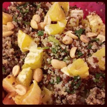 Quinoa con spinaci e arance